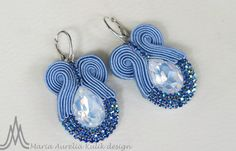 Soutache earrings Soutache Earrings, Blue Earrings, Beaded Earrings, Earrings Handmade, Handmade Jewelry, Macrame Earrings Tutorial, Soutache Tutorial, Bead Embroidery Tutorial, Shibori