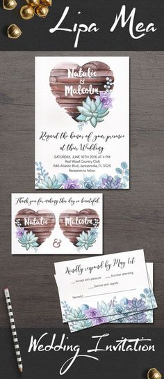 Succulent Wedding Invitation, Rustic Wedding Invitations, Printable Wedding Invitation Suite, Boho Wedding Invitation, Floral Wedding Invitation, Spring Summer Wedding Ideas, Mint and Purple Wedding Invites, Dor more bohemian wedding invitations, follow the link: lipamea.etsy.com