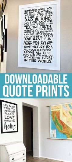 Inspirational Quotes for Home Decor - get one of these prints to hang in your home! via http://thirtyhandmadedays.com