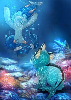I'm in love with this water pokemon fan art featuring Primarina fan art! Popplio was so cute, and I love it's final evolution! Pokemon Fan Art, Pokemon Primarina, Pokemon Eeveelutions, Eevee Evolutions, Pokemon Comics, Pokemon Memes, Mudkip, Pikachu, Water Type Pokemon