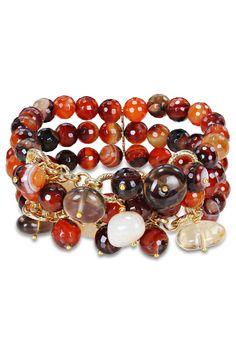 Multi-Gemstone Stretch Bracelet In Dark Brown.