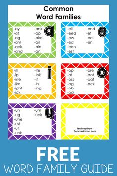 Free resource for teachers to learn about how to teach word families to their students. Read which word family books to use, which words to start with, and all about word family activities. Free resources are also included. Free Teaching Resources, Reading Resources, Reading Strategies, Teaching Reading, Teacher Resources, Reading Practice, Teaching Ideas, Teacher Freebies, Classroom Freebies