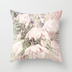 fern and flowers on soft pink Throw Pillow by clemm - $20.00