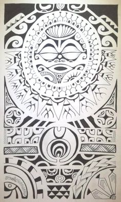Polynesian Designs And Patterns | Sun Design of Maori Polynesian Style and Pattern filled with all a ... #maori #tattoo #tattoos