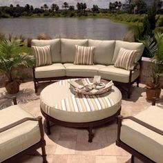 I like this patio furniture set up. It's very nice and clean and simple. We would get some pillows for ours but our dog keeps chewing them up. Maybe we'll teach her so we can have better furniture.