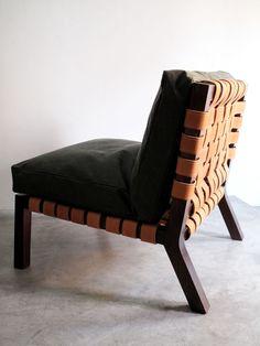 casamidy punta maroma chaise in saddle leather oak wood frame