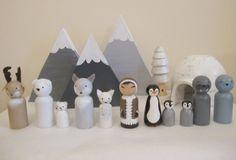 Polar Animals and Inuit Peg Doll set by PaintedAcornArt on Etsy
