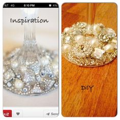 DIY Blinged out Champange Flute :  wedding bling diy flute pearls Flute