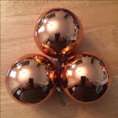 Orange Colored Ball Ornaments | glass - 80 mm | 7 ornaments | Bought at Bloomingdale's | need to find some that are more orange (maybe at Halloween time?)