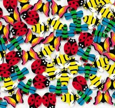 Mini Insect Erasers (12) .  These 1.9 cm rubber erasers are shaped like cute bugs! Have a fun time erasing mistakes with butterflies, bees, ladybugs and more! Erasers make great treat bag favours and rewards for students.  set of 12 assorted erasers