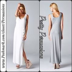 NWT Gray Button Slit Sleeveless Maxi Dress NWT Heather Gray Button Slit Maxi Dress   ** PLEASE do not purchase this listing. I will make you a personal listing if you'd like to purchase **  Available in sizes: S, M, L Also available in White Measurements available upon request  Features:  • relaxed, easy fit • very soft material with stretch • scooped neckline  • 5 button detailing at top of slit on left side of dress starting from the hip down • sleeveless   Material: 95% Rayon; 5% Spandex…