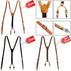 Mens Womens Leather Suspenders Y-Back Retro Elastic Adjustable Braces Clip-On #followthehappiness