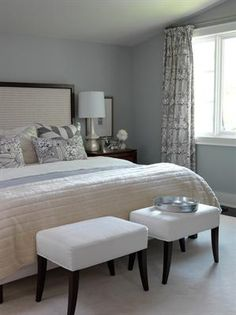 love the colours of this room- silvery blue walled bedroom