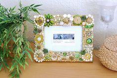 Bilderrahmen gold greenery grün Mixed Media Rahmen Mosaik