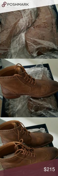 Wing-Tip boot Camel high top Wing-Tip boot. Distress leather, very durable. Cole Haan Shoes Boots