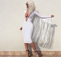 Find More Dresses Information about  Free Shipping wholesale New Arrival 2015 Hot Sexy Ladies Long Sleeve White Black Red Tassel Bodycon Dress Vestidos Rojo blanco,High Quality ladies tank dress,China ladies special occasion dresses Suppliers, Cheap ladies wedding dress from Ilonaandgrace'  store on Aliexpress.com
