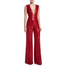 Naeem Khan Sleeveless V-Neck Sequin Jumpsuit ($9,990) ❤ liked on Polyvore featuring jumpsuits, red, jump suit, sleeveless jumpsuit, v neck jumpsuit, red sleeveless jumpsuit and plunging v neck jumpsuit