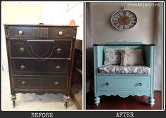 Repurpose a cracked & broken but still lovely dresser as a handy storage bench.