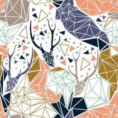 Deer Skeleton with Geometric Polygonal Ornament.