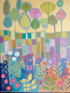 Original Acrylic Painting on Canvas 'Trees and Plants'. Signed