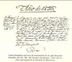Acta de matrimonio del Dr. Gonzalitos