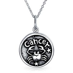 Cancer Zodiac Sign Medallion Pendant Sterling Silver Necklace 16in (66 BRL) ❤ liked on Polyvore featuring jewelry, necklaces, necklaces pendants, oxidised necklace, circle necklace, medallion pendant necklace, sterling silver circle necklace and oxidized necklace