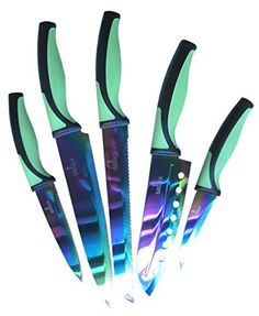 SiliSlick Titanium coated Stainless Steel 5pc kitchen set of Rainbow knives. Each knife comes with clear sheath for your safety! SiliSlick http://www.amazon.com/dp/B00PTRJZBE/ref=cm_sw_r_pi_dp_69ajwb0X4MYFM