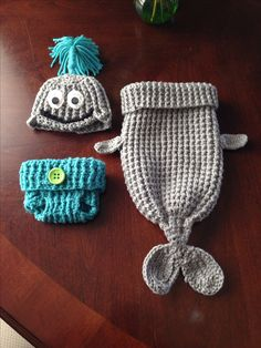 Crochet Whale cocoon, diaper cover and hat with water spout.