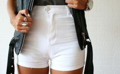 white high wasted shorts