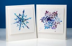Powdered Snowflakes | Stamps: All is bright, Soft Grace (PB) Paint: Colorburst watercolor powder (Ken Oliver) Cardstock: hot pressed watercolour paper | Heather Telford