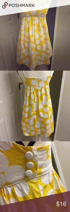 Gorgeous Yellow & White Polka Dot Retro Girl Dress Beautiful yellow dress with white polka dots. Spaghetti straps, knee length and lined. Super cute and perfect for any retro girl. Brand is Signature London, size 4. This is a summer dress, and is priced as such...but you could pair this with a cardigan and some cute heels for a gorgeous fall look! Dresses