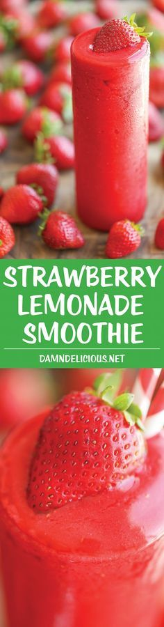 Only 4 ingredients needed to make this mouth-watering smoothie! Strawberry Lemonade Smoothie - Sweet, tangy and wonderfully refreshing with just 4 ingredients, made completely from scratch. No frozen concentrate here! Yummy Smoothies, Juice Smoothie, Smoothie Drinks, Yummy Drinks, Healthy Drinks, Healthy Snacks, Yummy Food, Healthy Lemonade, Strawberry Smoothies