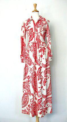 Vintage 70s Maxi Dress / 70s dress / metallic by roguegirlvintage