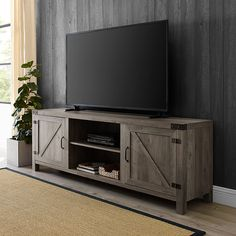 Shop Walker Edison TV Cabinet for Most TVs Up to Gray Wash at Best Buy. 70 Inch Tv Stand, Tractor Room, 70 Inch Tvs, Barn Door Tv Stand, Metal Accents, Cabinet Styles, Modern Farmhouse Style, Grey Wash, Tv Cabinets