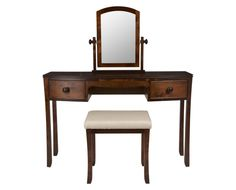 Laura Ashley Broughton Dark Dressing Table.  Warm wood to match wardrobes Sale £693.  Would want beautiful armchair not stall but this could be relocated to spare bed.