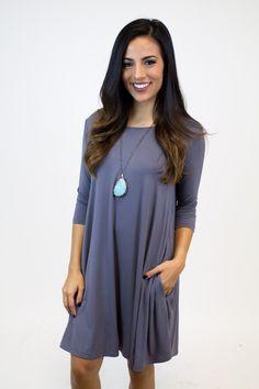 Charcoal Grey Piko Dress W/Pocket