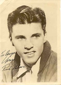 Ricky Nelson, he was gorgeous.  He was the younger brother of David Nelson, and the son of Ozzie and Harriet.  They did a sit com but I believe were real family, which was unusual back then.  There were no reality tv shows.  Later he branched out into singing.
