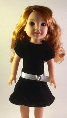 First Little Black Dress made with Spring Fling Dress http://www.pixiefaire.com/collections/doll-clothes-patterns-for-wellie-wishers-and-hearts-for-hearts-girls/products/spring-fling-dress-for-welliewishers-dolls
