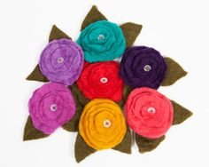 Wool Felt Flower Pin by TissaGibbons on Etsy, Felt Flowers, Wool Felt, I Shop, Throw Pillows, Etsy, Cushions, Felted Flowers, Decorative Pillows, Decor Pillows
