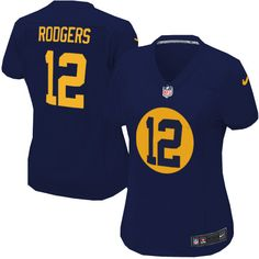 Women's Nike Green Bay Packers #12 Aaron Rodgers Limited Navy Blue Alternate Jersey $89.99