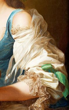 Sleeve detail from Portrait of Anne Vallayer-Coster, by Alexander Roslin 1783 #Art #Detail