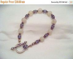 Gemstone Bracelet Sterling Silver Beads White Quartz & by Zeppola