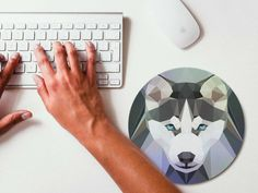 Mouse Pad Geometric Husky Mousepad Art Mouse Mat Design Round Mouse Pad Office Decor Mousemat Polygonal Dog Mousepad Birthday Gift Idea