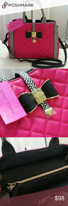 "NWT Betsey Johnson Loop and Pull Fushia Satchel Hot Betsey pink ans black&white dot ? how can be better ? Satchel has removeable and adjustable crossbody strap too ? Measurements 5.5"" x 10"" x 13"" Strap drop 5.5"" Retail $108 + tax Betsey Johnson Bags Satchels"