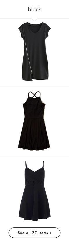 """black"" by dandelionpie ❤ liked on Polyvore featuring dresses, vestidos, yoins, black, zipper dress, v neck short sleeve dress, short-sleeve dresses, v-neck dresses, short sleeve mini dress and lace up front dress"