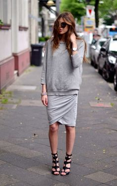 wrapped & draped skirt with sweatshirt: medium heather gray and casual non-frumpy comfort becomes sharp with black heeled gladiator sandals — The Generation Nation