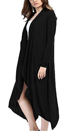 Miusey Women's Short Sleeve Light Weight Open Front Drape Hem ...