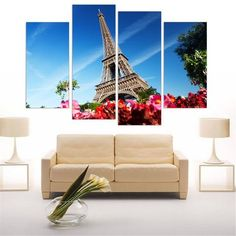 Free Shipping Eiffel Tower Canvas Print Wall Art Picture Home Decor HD Wall Painting for Living Room ( Include 5 Color) 4 Pieces