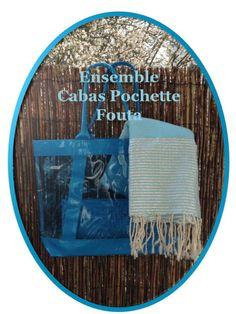 Cabas transparent et pochette coordonnée Fouta lurex argenté