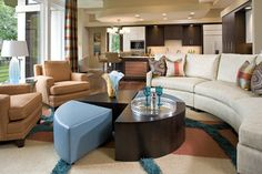 Pull apart circular coffee table makes great occasional tables.